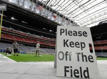 Trabajo y mantenimiento en estructuras del NRdelG Stadium, para el Super Bowl 2017