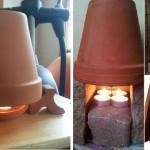 Cómo hacer un calefactor económico con macetas de barro y velas