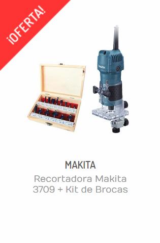 RECORTADORA MAKITA 3709 + KIT DE BROCAS TOOLCRAFT DE 15 PIEZAS