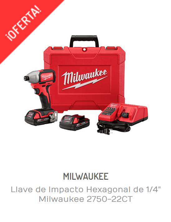 "LLAVE DE IMPACTO HEXAGONAL DE 1/4"" MILWAUKEE 2750-22CT"