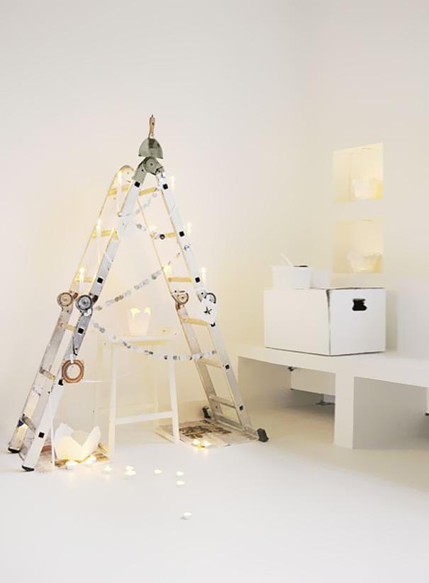 como hacer un arbol de navidad casero-Escalera de arbol de navidad.