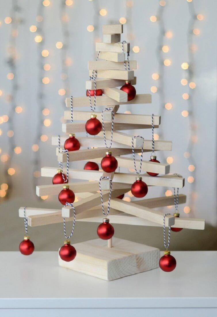 como hacer un arbol de navidad casero-moderno árbol de navidad de mesa de madera