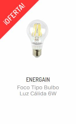 consejos de iluminación de interiores para invierno- FOCO TIPO BULBO LUZ CÁLIDA 6W ENERGAIN EGBFS6WBCE27