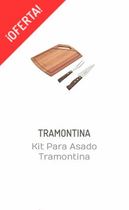KIT PARA ASADO TRAMONTINA CHURRASCO TABLA / CUCHILLO Y TRINCHE
